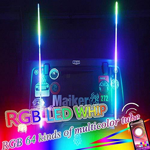 - OMUOFFROAD 5FT Lighted Whip LED Antenna Dream Wrapped Dancing Whips For Polaris RZR ATV Antenna Whip UTV Quad Sand Dune Buggy Flag Poles For Trucks w/APP Control (Two Whip)