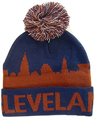 Cleveland Digital Fade and City Skyline Pattern Winter Knit Cuffed Pom Beanie Toboggan Hats (Skyline Navy Blue)