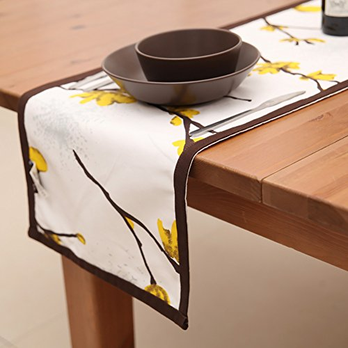 Table Runner ZJM- Purified Cotton Yellow Wintersweet Printing Placemat (Size : 35200cm)