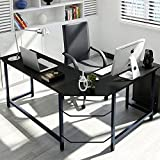 L-Shaped Desktop Computer Desk Flat Angle Black Board & Black Metal Legs