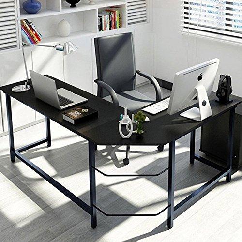 L-Shaped Desktop Computer Desk Flat Angle Black Board & Black Metal Legs by Lykos