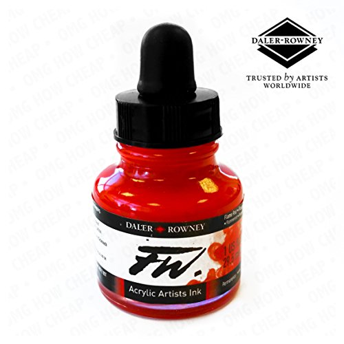 Daler Rowney - FW Artists Series - Liquid Acrylic Ink Bottle - Flame Red - 29.5ml