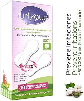 UNYQUE Protege Slips Flex de Algodon Puro 100% - Salvaslips Hipoalergénicos Suaves Ultrafinos y Adaptables Flexiform – Apto Pieles Sensibles - 30 Unidades: Amazon.es: Salud y cuidado personal
