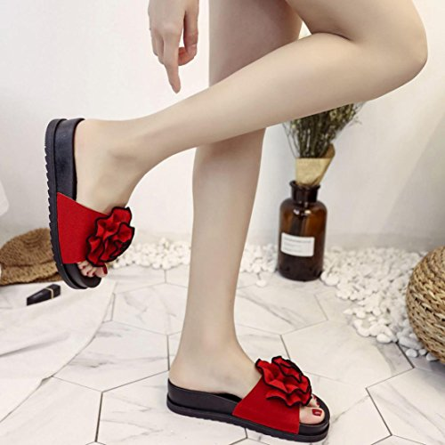 hunpta Ladies Summer Beach Floral Platform Slippers Casual Wedge Sandals Women Shoes Red nfwbZq