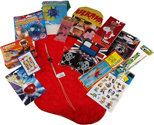 Older Boys 2017 Pre Filled Christmas Stocking Stuffed With 15 Toys And Novelties by Blue Whale Gifts