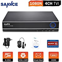 SANNCE 4CH 5-in-1 1080P Lite DVR Digital Video Recorder with Email Alert and Motion Detect Function( Camera and Hard Drive Not Included)