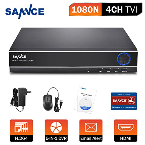 SANNCE 4CH HD 1080P Lite 5-in-1 DVR 4 Channel 1080N Digital Video Recorder with Email Alert and Motion Detect Function(Camera and Hard Drive Not Included) by SANNCE