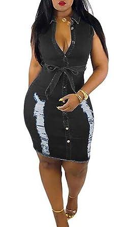f6498b8bee7d Voghtic Women Summer Distressed Ripped Sleeveless V Neck Button Down Bodycon  Jeans Denim Midi Dresses Short