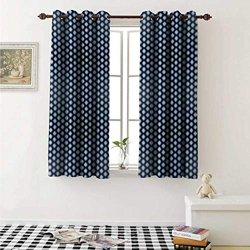 - Flyerer Geometric Decor Curtains by Ornamental Abstract Oval Shapes Pattern in Blue Tones Simplistic Design Curtains Girls Bedroom W63 x L63 Inch Dark Blue Pale Blue
