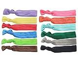 BONAMART ® 12 pcs No Crease Elastic Hair Band Ponytail Holder Ribbon Hair Ties Lot Wholesale for Girl & Women