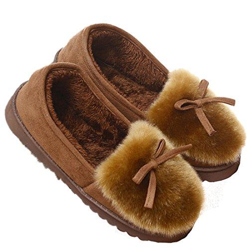 Zapatillas para de marrón invierno de de piel casa BELLOO para Zapatillas mujer mujer forradas 0q1S0wr