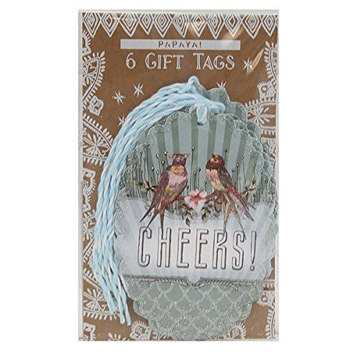 "Congratulations Gift Tag (""Cheers! Glitter Love Birds Congratulations Gift Tag by Papaya! (6 Pack))"