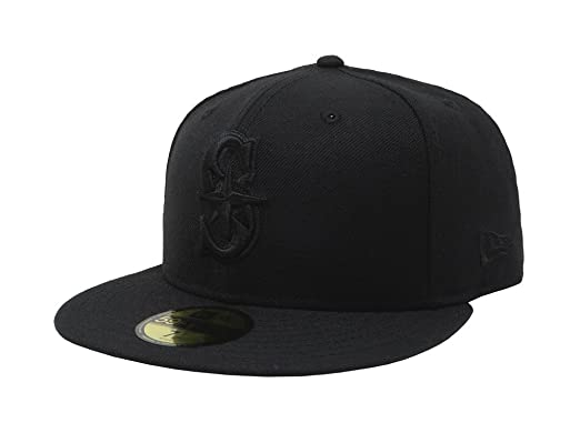 buy online 9337b b71d6 New Era 59Fifty Hat Seattle Mariners Black on Black Fitted Cap 11591102 (6 7
