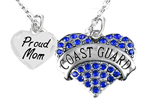 Coast Guard Proud Mom, Heart Charm Necklace, Adjustable, Hypoallergenic, Safe- Nickel, Lead, and Cadmium (Coast Guard Charm)