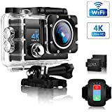 Action Camera, ONEDAY UHD 4K/30fps 16MP WiFi 2 LCD 30m Waterproof 4X Zoom Underwater Camera with EIS,Remote Control, 170° Wide Angle, 2 Rechargeable Batteries and 24 Mounting Accessories Kit (Black)