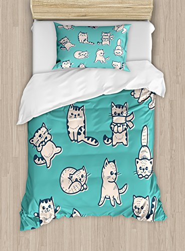 Ambesonne Funny Duvet Cover Set Twin Size, Cute Kitties in Various Gestures Sleeping Playful Babyish Cat Animal Illustration, Decorative 2 Piece Bedding Set with 1 Pillow Sham, Aqua Cream