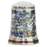 Virgin Islands Caribbean Map Pearl Souvenir Collectible Thimble agc