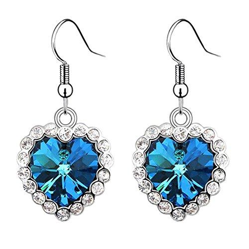 Ocaler®Pair of Blue Love Ocean Star Eardrop Earrings with Rhinestones for Lady