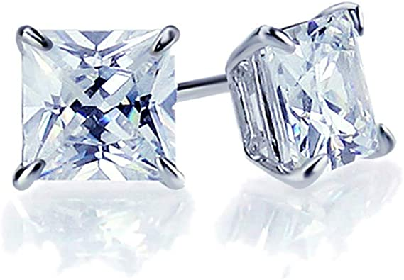 Solid 925 Sterling Silver 5mm Square Princess Cut Cubic Zirconia CZ 4 Prong Stud Earrings 5mm x 5mm