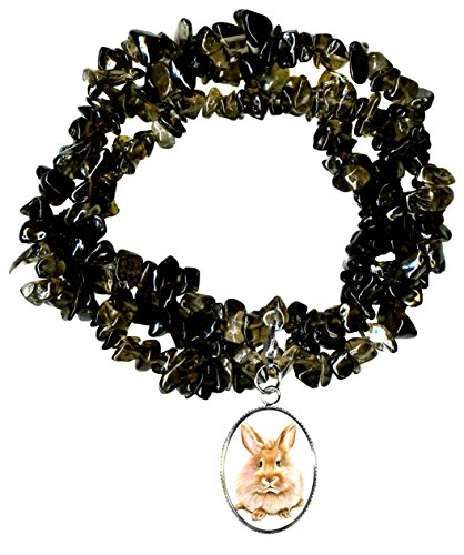 Gw1 Costumes (Bunny Rabbit Charm Clip Smoky Quartz Gem Wrap Bracelet or Necklace)