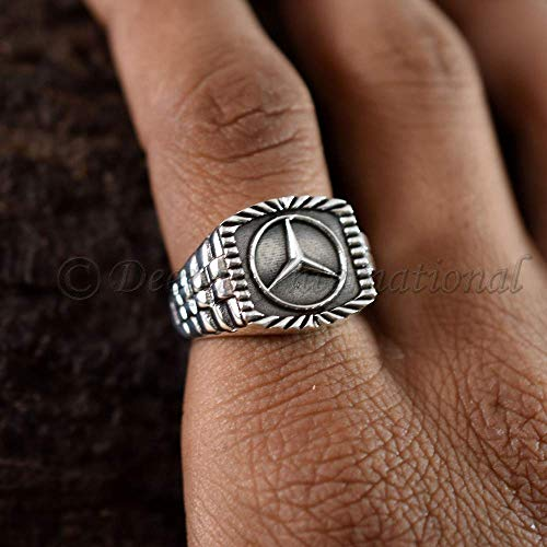 (Latest Design 3D Mercedes Benz Logo Ring Sterling Silver Oxidized Ring 925 Sterling Solid Silver Ring Handmade Ring Rolex Band Style Engrave Band)