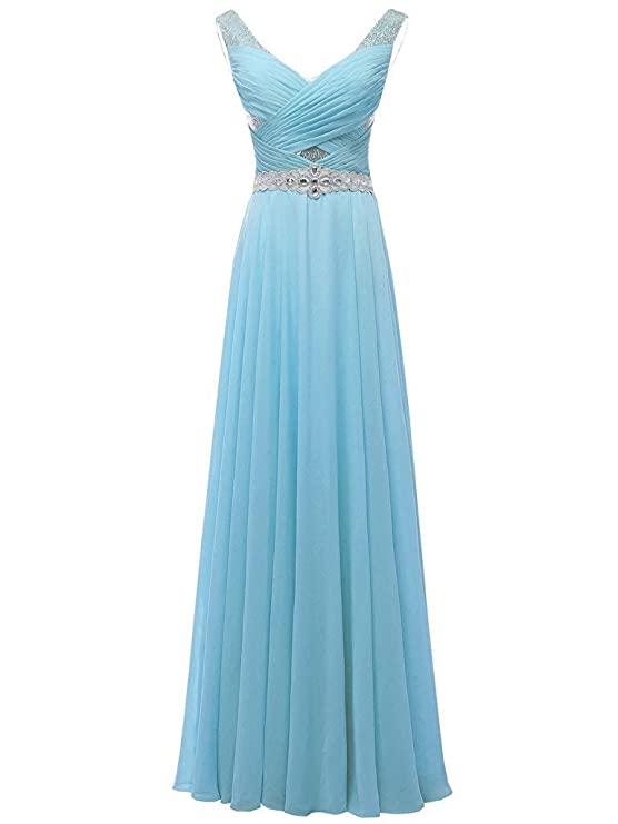 solovedress Chifffon de cuentas de las mujeres prom vestido una línea vestido de noche vestido de dama: Amazon.es: Ropa y accesorios