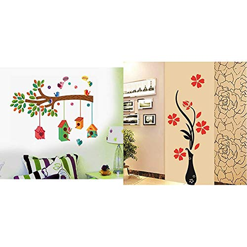 Bird House on a Branch Flowers PVC Vinyl Decals Design Wall Sticker