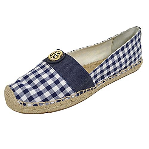 (Tory Burch Espadrille-Gingham Fabric/Canvas Beacher Flats Bright Navy Size 8)