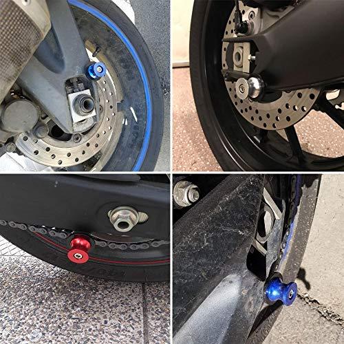 2pcs M6 Motorcycle CNC Swing arm Sliders Spools Stand Screw for Yamaha FZ01 FZ03 FZ09 FZ10 YZF R1 R3 R6 R25 R125 R1000 R6S FZ1 FZ6 FZ8 FZS1000 FZS600 Aprilia RSV4 R Tuono V4 Dorsoduro (Blue) by LQMY (Image #2)