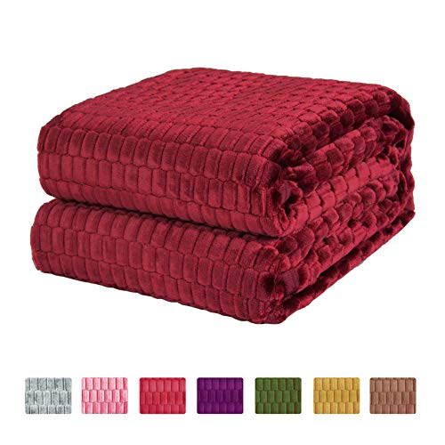Soshow Bed Throw Fleece Blankets for Bed Couch Sofa,Soft Fuzzy Light Weight Throw Blankets,Bedspread,Coverlet,Wine Red 80x90 - 90 Wine