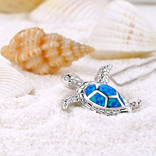"""Victoria Jewelry [Health and Longevity] 925 Sterling Silver Created Blue Opal Sea Turtle Pendant Necklace 18"""", Birthstone Jewelry for Women(Blue)"""
