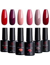 Makartt Red Gel Nail Polish Kit 10 ML 6 Bottles Perfect Glamour Goddess Manicure Series UV LED Lamp Required Soak Off UV Gel Nail Polish Gift Box P-13