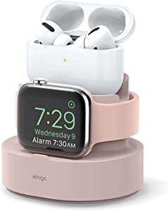 elago 2 in 1 Charging Station for Apple Products, Designed for Apple AirPods Pro, iPhone 11 Pro Max/11 Pro, All Apple Watch Series [Original Cables Required-NOT Included] (Sand Pink)