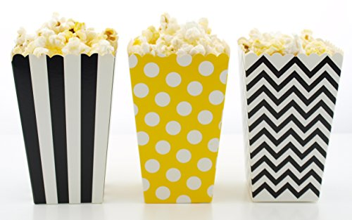 (Bumblebee Popcorn Boxes (36 Pack) - Bumble Bee Party Favor Boxes, Black & Yellow Mini Movie Theater Popcorn Tubs for Honey Bee Birthday Party Supplies)