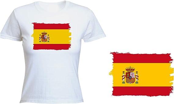 MERCHANDMANIA Camiseta Mujer Bandera ESPAÑA Pais Unido Tshirt ...