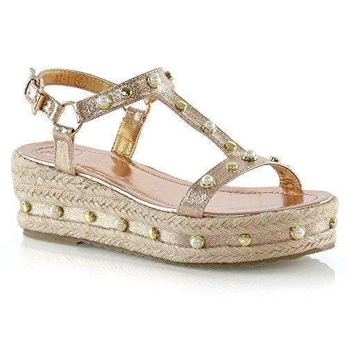 (ESSEX GLAM Womens Platform Sandals Ladies Champagne Metallic Studded Wedge Heel Espadrilles 6 B(M) US)