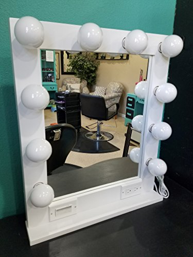 White 24 x 28, Hollywood Style Lighted Vanity Makeup (24' Wide Vanity)