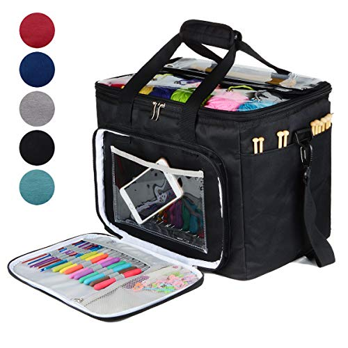 """Hoshin Knitting Bag for Yarn Storage, High Capacity Yarn Totes Organizer with Inner Divider Portable for Carrying Project, Knitting Needles(up to 14""""), Crochet Hooks, Skeins of Yarn (Black)"""