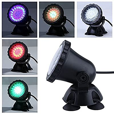 Amzdeal Outdoor Christmas Yard Lawn Pool Party Lighted Decorations Underwater Aquarium Submersible Spotlight Landscape Led Light Lamp (7 Color Change)