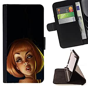 BullDog Case - FOR/Samsung Galaxy Note 3 III / - / redhead drawing 3d kids cartoon woman /- Monedero de cuero de la PU Llevar cubierta de la caja con el ID Credit Card Slots Flip funda de cuer