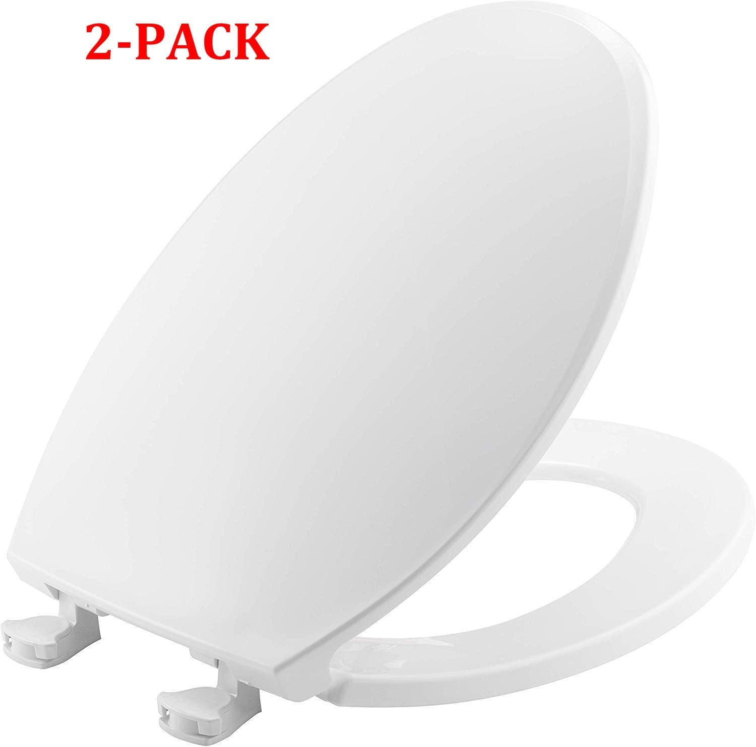 ELONGATED PACK OF 2 BEMIS 1800EC 000 Plastic Toilet Seat with Easy Clean /& Change Hinges White