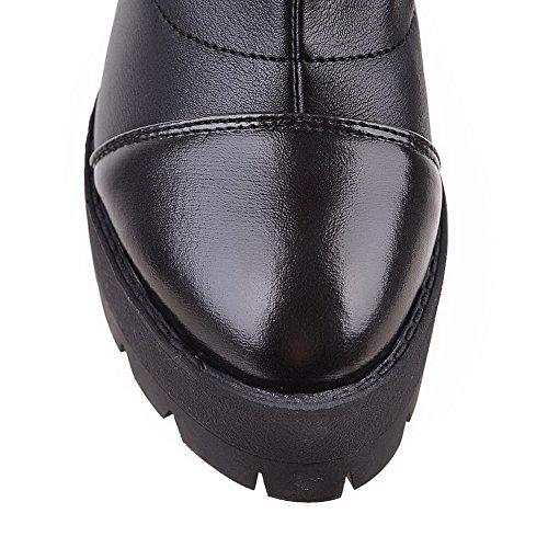 AllhqFashion Damen Ziehen auf Plattform Hoher Absatz PU Rein Hoch-Spitze Stiefel Schwarz