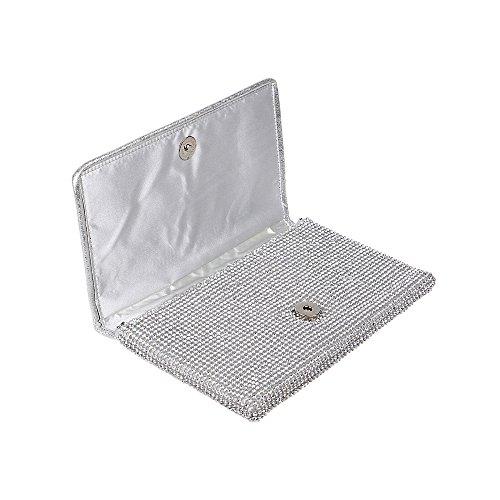 Chain Shoulder Bag Bling Black Women's Clutch Handbag Evening with Rhinestones Strap Detachable fSx8qXF