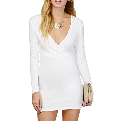 Bodycon Dress Women's Long-Sleeve Deep V Neck Stretch Bandage Wrap Dress