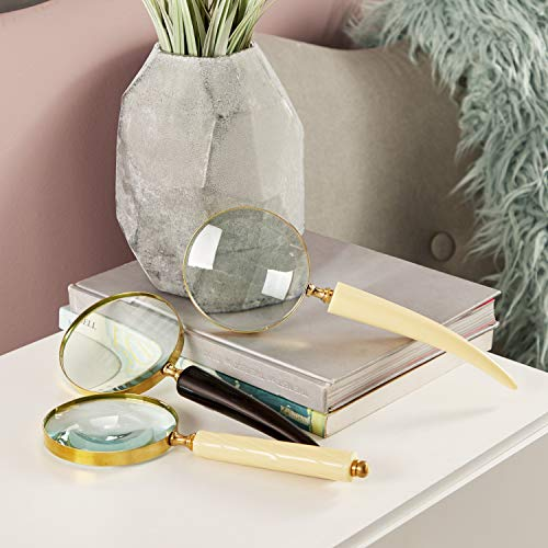 CosmoLiving by Cosmopolitan 28329 Large Eclectic Black & White Metal Horn Magnifying Glasses with Gold Hardware | Set of 3: 4