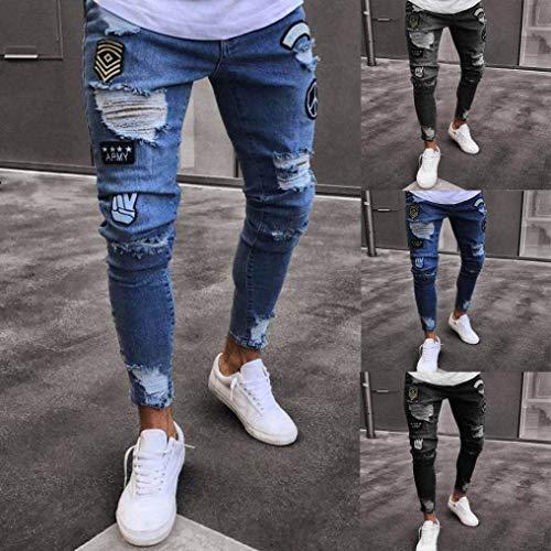 Blu Dunkelblau I Lampo Giorni Grigio Casual Da Anaisy Slim Uomo Cerniera Sfilacciati Chiaro Jeans Con Nero Skinny Tutti Estate Strappati Scuro Pantaloni Giovane xTx4Bq