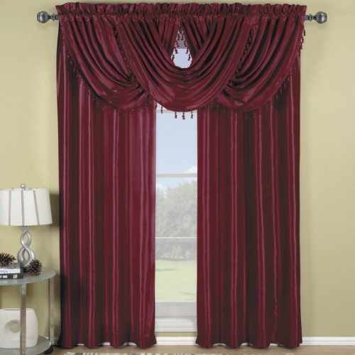 Exquisite Draperies Soho Rod Pocket Faux Silk Window Treatment Collection, Contemporary Décor Single Panel, 42 Inches W by 84 Inches L Panel, Burgundy (Valances Window Formal)