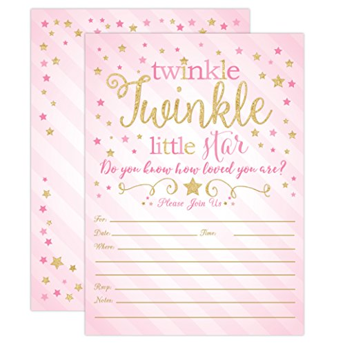 Twinkle Twinkle Little Star Baby Shower Invitations, Pink and Gold Twinkle Twinkle Little Star Girl Baby Shower Invites, 20 Fill in Style with Envelopes