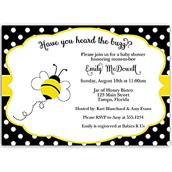 Amazon Com Bumble Bee Baby Shower Invitations Neutral Yellow