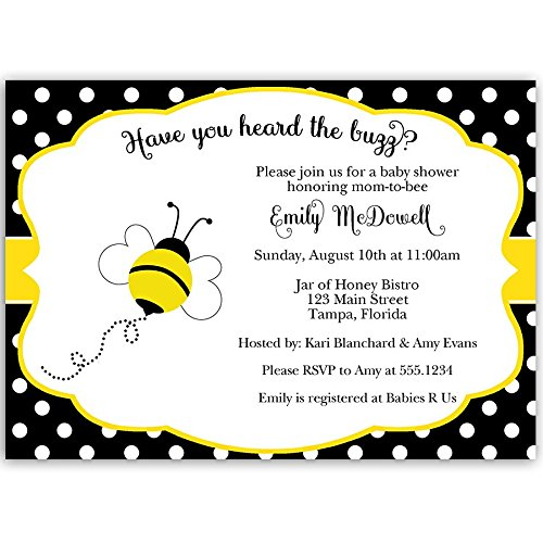Bee Baby Shower Invitations Bumblebee Neutral Yellow Black White Polka Dots Buzz About, Babee Sprinkle Have You Heard The Buzz Custom Printed Personalized Invites (Pack of 10) -